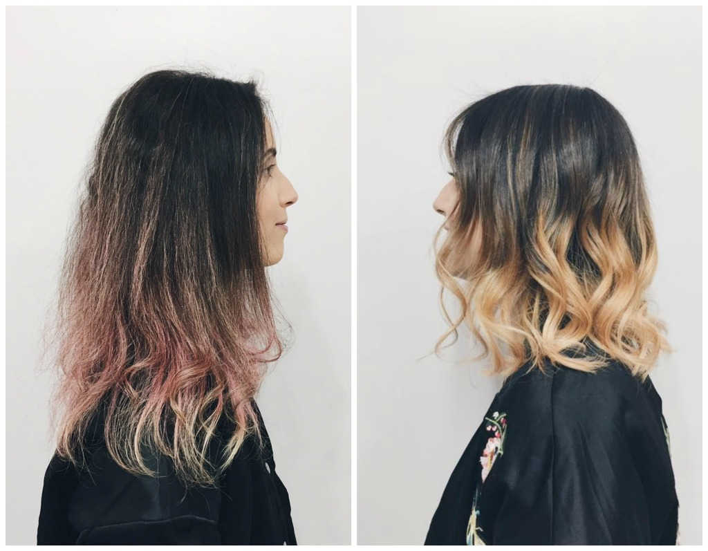 antes e depois cabelo blorange 2 lado